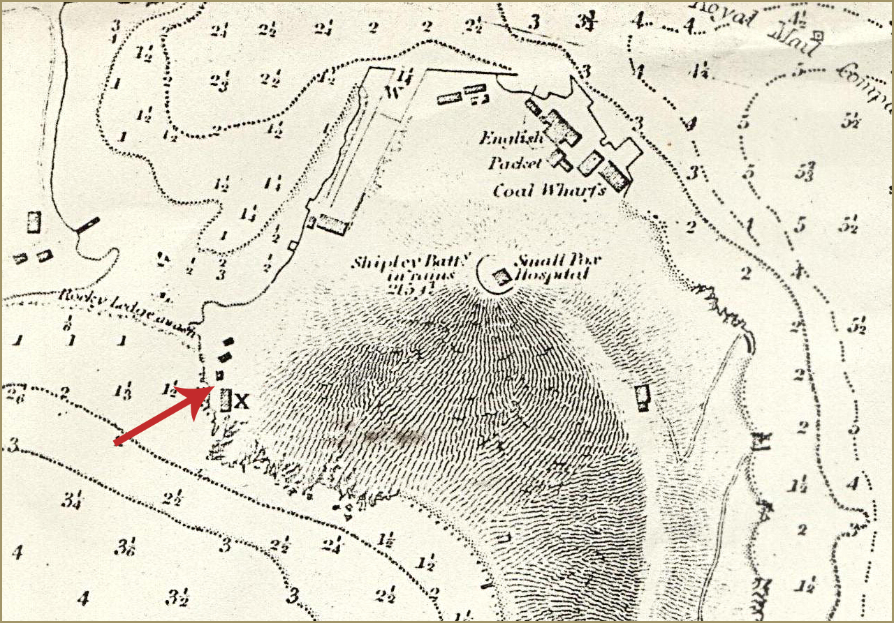 Map showing the location of the complex, 1851