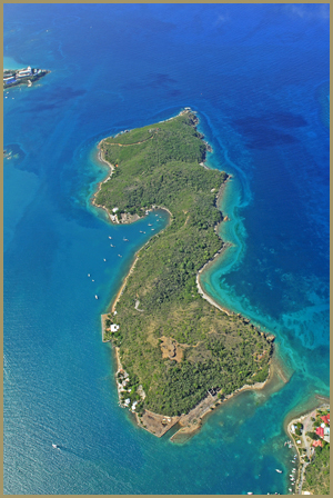 Aerial View of Hassel Island South at top