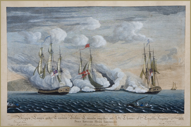 Danish and British naval ships at battle: HDMS Lougen vs. HMS Arab & Privateer Experiment, 1801 *