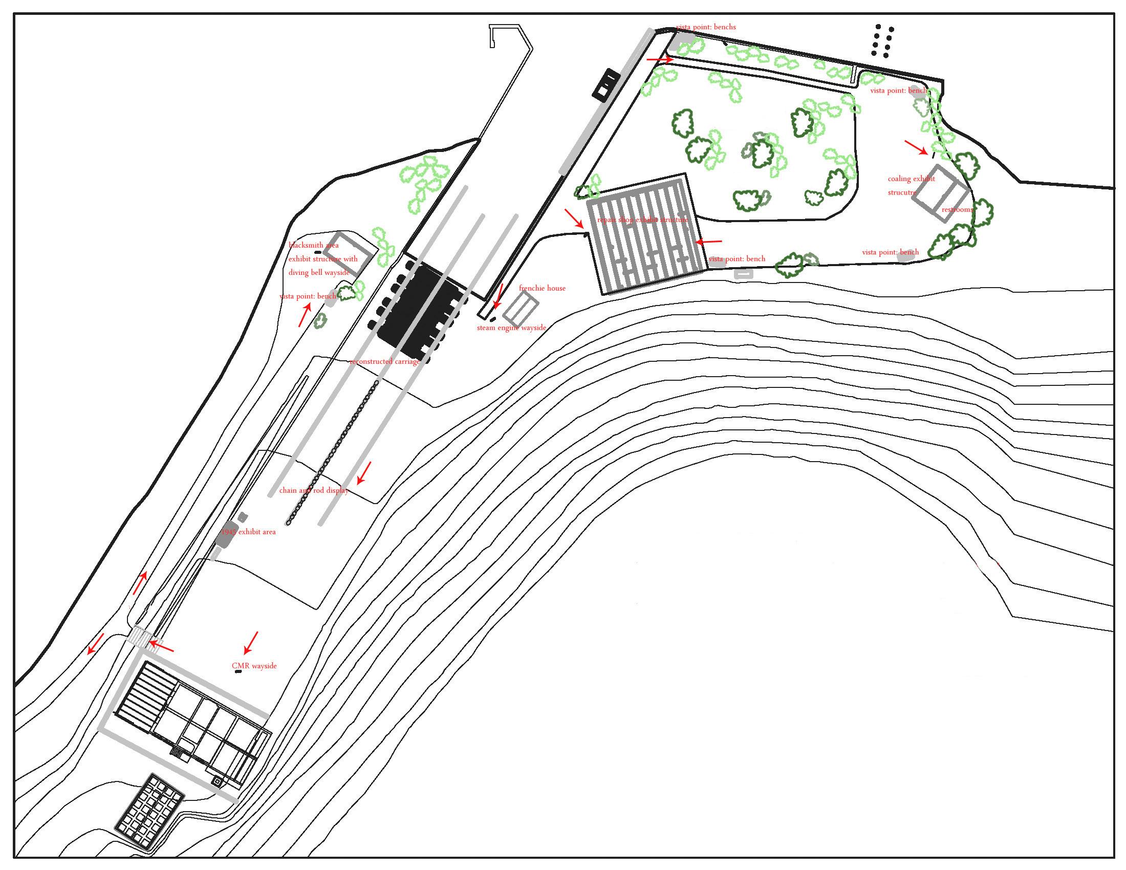 Proposed plan for Creque Marine Railway interpretation