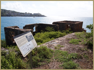 Interpretive sign at the Southeastern end of the trail, Prince Frederik's Battery