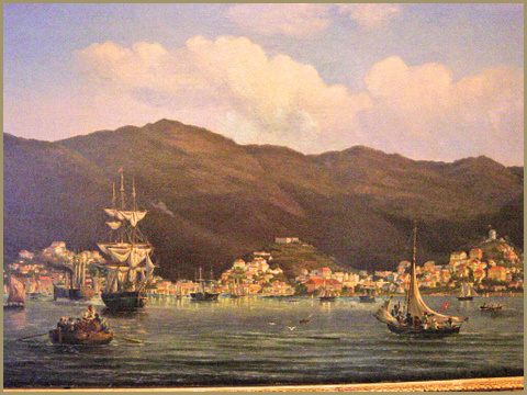 St Thomas Harbor bustling with merchant ships, c. 1850